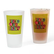 PeaceLoveDragon2Sq Drinking Glass