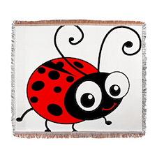 Cute Ladybug Woven Blanket