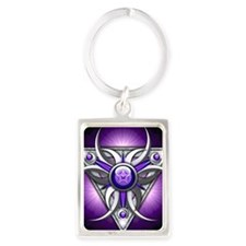 Triple Goddess - purple - square Portrait Keychain
