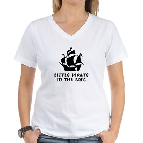 Little Pirate in the Brig Women's V-Neck T-Shirt
