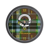 Thomson Clan Crest / Tartan Clock Wall Clock