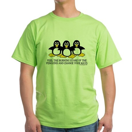 Burning Stare Penguins Green T-Shirt