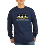 Burning Stare Penguins Long Sleeve Dark T-Shirt