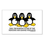 Burning Stare Penguins Rectangle Sticker