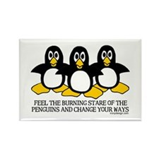 Burning Stare Penguins Rectangle Magnet (10 pack)