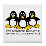 Burning Stare Penguins Tile Coaster