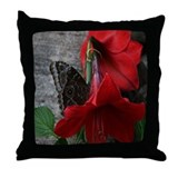 Butterfly on a Red Flower Throw Pillow