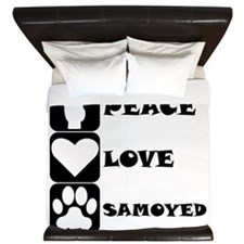 Peace Love Samoyed King Duvet