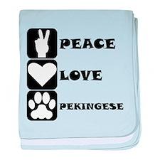 Peace Love Pekingese baby blanket