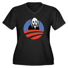 ObamaScream Women's Plus Size Dark V-Neck T-Shirt