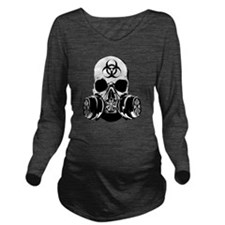 Biohazard Zombie Sku Long Sleeve Maternity T-Shirt