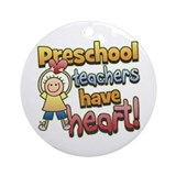 Preschool Teacher Heart Ornament (Round)