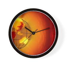 Globe of  Asia and Austraila, digital Wall Clock