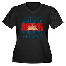 Cambodia6 Women's Plus Size Dark V-Neck T-Shirt
