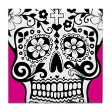 sugarskull pink background Tile Coaster