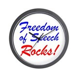 Freedom of Speech Rocks! Wall Clock