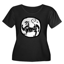 Modified Women's Plus Size Dark Scoop Neck T-Shirt