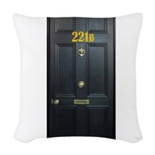 221B Door Woven Throw Pillow