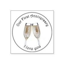 "1st anniv Square Sticker 3"" x 3"""