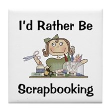 Rather Be Scrapbooking Tile Coaster