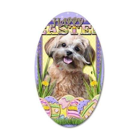 EasterEggCookiesShihPoo 35x21 Oval Wall Decal