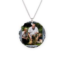 Custom silver baroque framed photo Necklace Circle