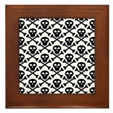 Black White Skulls Framed Tile