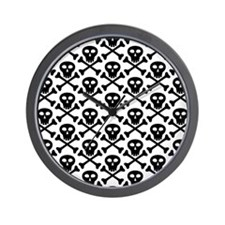 Black White Skulls Wall Clock