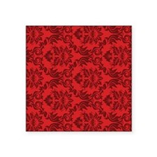 "Red Damask Square Sticker 3"" x 3"""