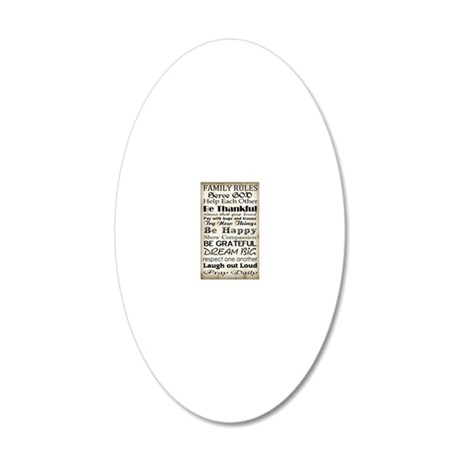 Family Rules God 20x12 Oval Wall Decal
