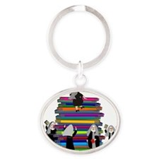 book stack nuns MULTIPLE Oval Keychain