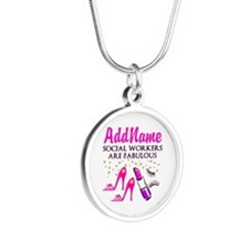 #1 SOCIAL WORKER Silver Round Necklace