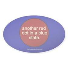 Red Dot in a Blue State Oval Decal