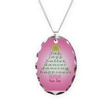 Custom Pink Dancer's Christmas Tree Necklace Oval