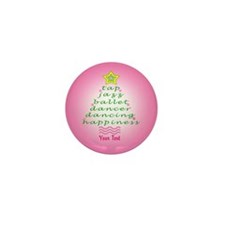 Custom Pink Dancer's Christmas Tree Mini Button (1