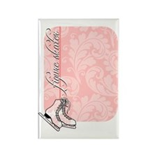 pink-damask-skates-curved Rectangle Magnet