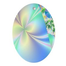 fractal-babyblue Oval Ornament