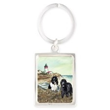 2 newfs and boat  Portrait Keychain