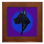 Black Great Dane Framed Tile