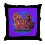 Long Haired Dachshunds Throw Pillow