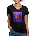 Long Haired Dachshunds Women's V-Neck Dark T-Shirt