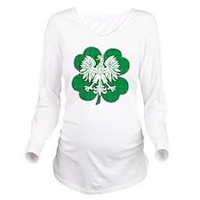 Irish Polish Shamroc Long Sleeve Maternity T-Shirt