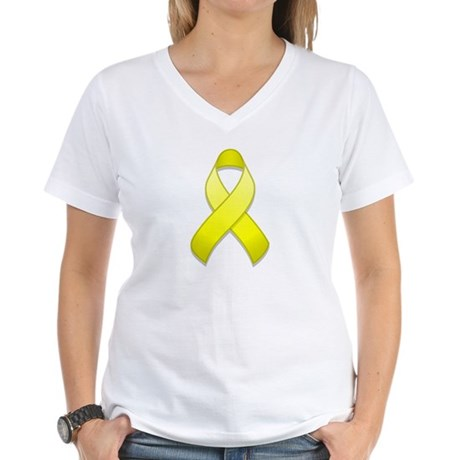 Yellow Awareness Ribbon Women's V-Neck T-Shirt