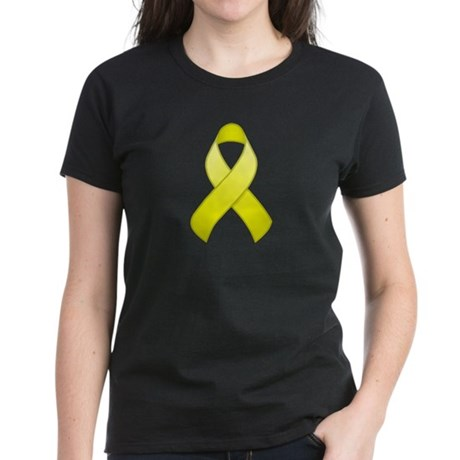 Yellow Awareness Ribbon Women's Dark T-Shirt
