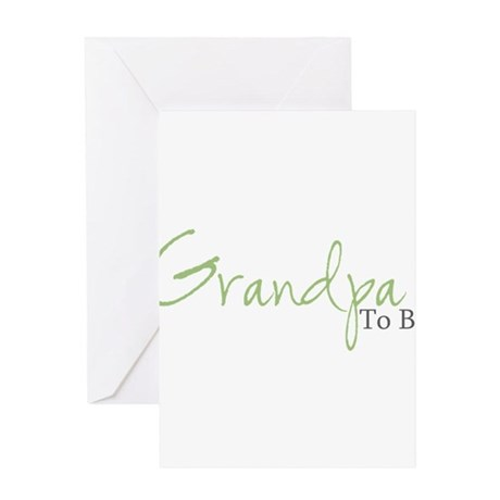Grandpa To Be (Green Script) Greeting Cards (Packa