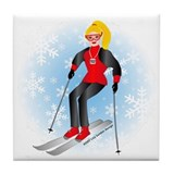 Ski Woman (blonde) Tile Coaster