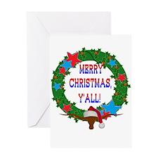 Longhorn Santa - Merry Christmas Yall! Greeting Ca