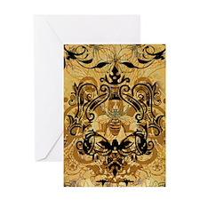 BeeFloralGold460ip Greeting Card