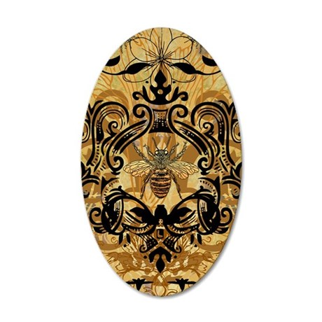 BeeFloralGold460ip 35x21 Oval Wall Decal