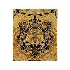 BeeFloralGold460ip Throw Blanket